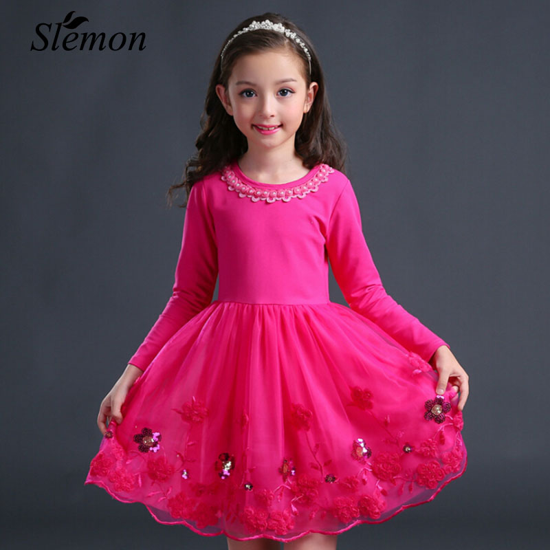2018 New Little Girls Flower Mesh Dresses Pink Purple RoseRed Long Sleeve Kids Embroidery Sweety Children Princess Party Dress jessica simpson little girls kenzie graphic with pleather sleeve