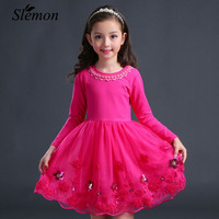 2017 New Girls Dresses Pink Violet Long Sleeve Kids Dresses For Girls Embroidery Sweet Children Prindess
