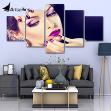 5 panel canvas painting hair beauty salon make-up cosmetics nail art canvas wall art print and Poster artwork for living room(China)