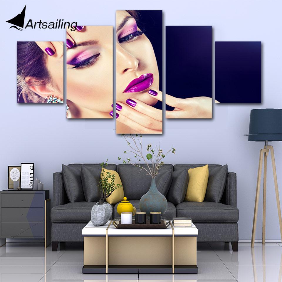 5 Panel Canvas Schilderij Hair Beauty Salon Make-up Cosmetica Nail Art Canvas Wall Art Print En Poster Kunstwerk Voor Woonkamer Kleuren Zijn Opvallend