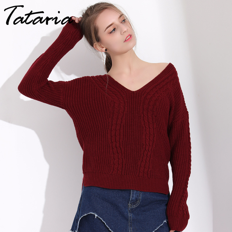 Tataria Ladies Jumpers Pink Winter Sweater Women Long Sleeve V Neck Knitted Pullover Slim Outwear Women Sweater Knit Jumper
