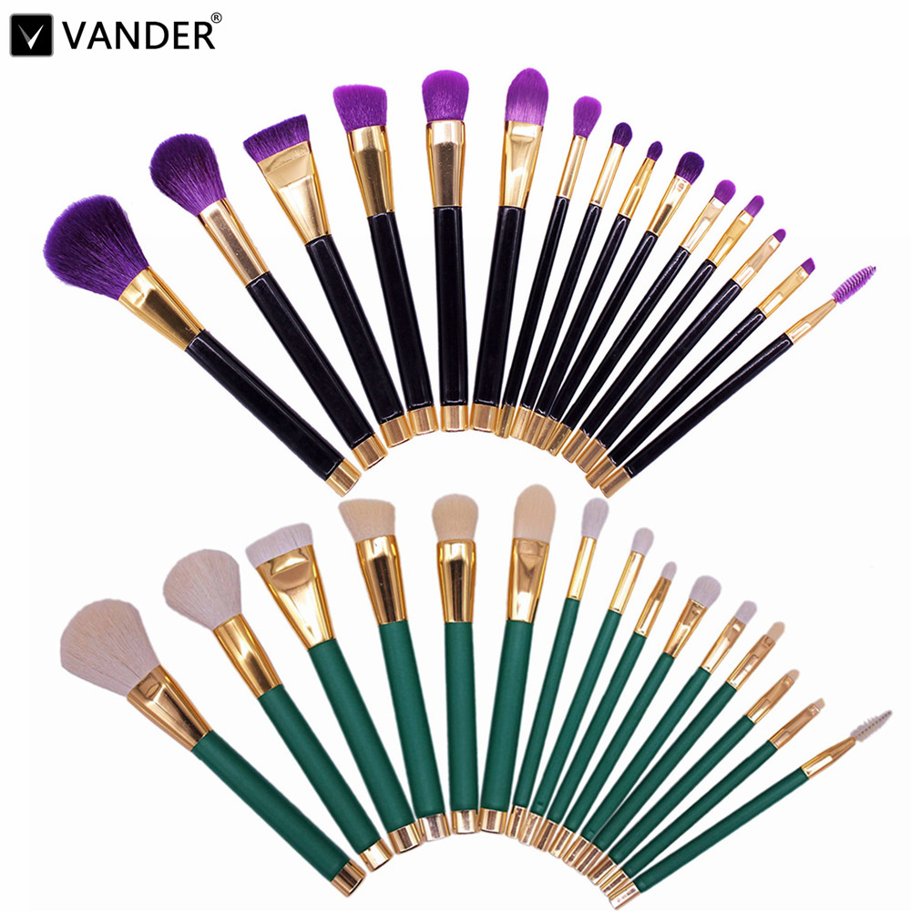 Professional 15pcs/Lot Makeup Brushes Set Make Up Brush Tools Cosmetic Brush Foundation Brush Kits Blending Pencil Kabuki Wood professional bullet style cosmetic make up foundation soft brush golden white