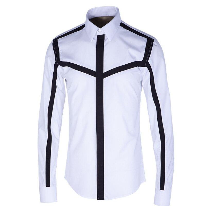 ที่มีคุณภาพสูงผู้ชายเสื้อแบรนด์หรูบางคนเสื้อพอดีผ้าฝ้ายแขนยาวC Hemise H OmmeลำลองP Atchworkบุรุษชุดเสื้อสีขาว-ใน เสื้อเชิ้ตลำลอง จาก เสื้อผ้าผู้ชาย บน   1