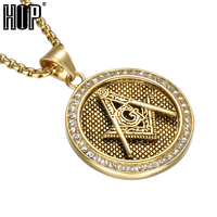 HIP Hop Bling Iced Out Pave Rhinestone Masonic Pendants Necklaces Gold Color Titanium Stainless Steel Necklace