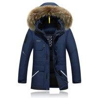 Новая зимняя куртка Для мужчин's Камуфляж длинные лыжная куртка утепленная с капюшоном меховой воротник белая утка вниз теплый пальто