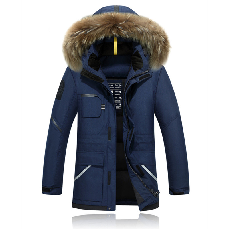 New Winter Jacket Men's  Camouflage Pattern Long Ski Jacket Thickening  Hooded Fur Collar White Duck Down Warm Coats