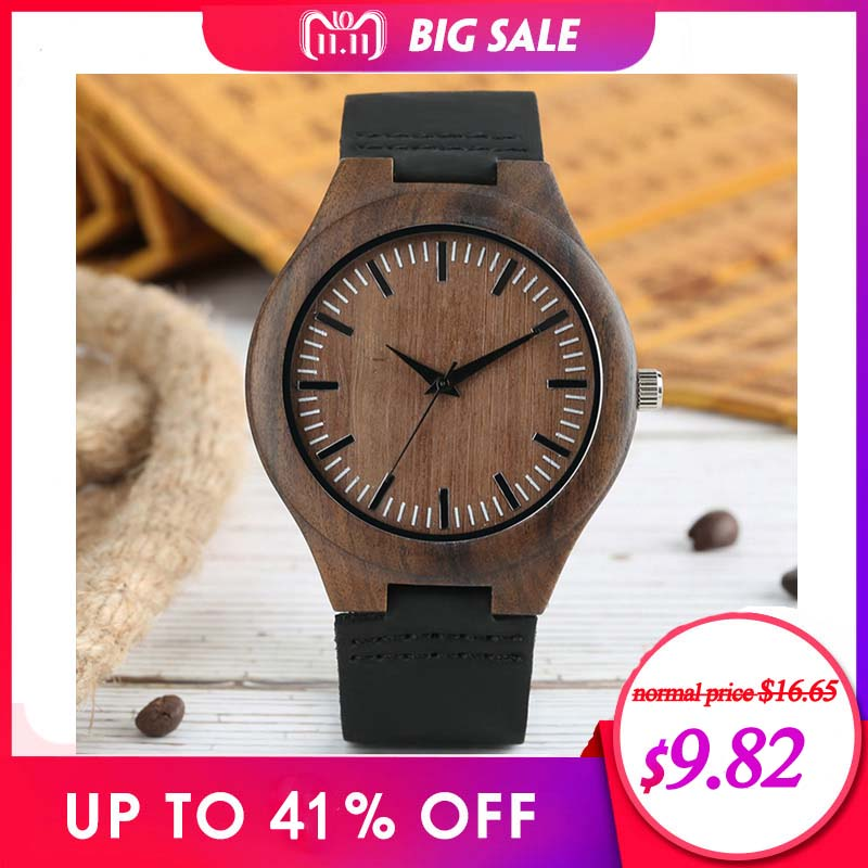 Men Wooden Watches Retro Ebony Wood Case Green Dial Handmade Engraved Scale Casual Military Sports Clock Man Quartz Wrist Watch