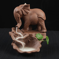 New pour smoke incense burner ceramic purple sand elephant small incense burner home office aroma furnace Decoration
