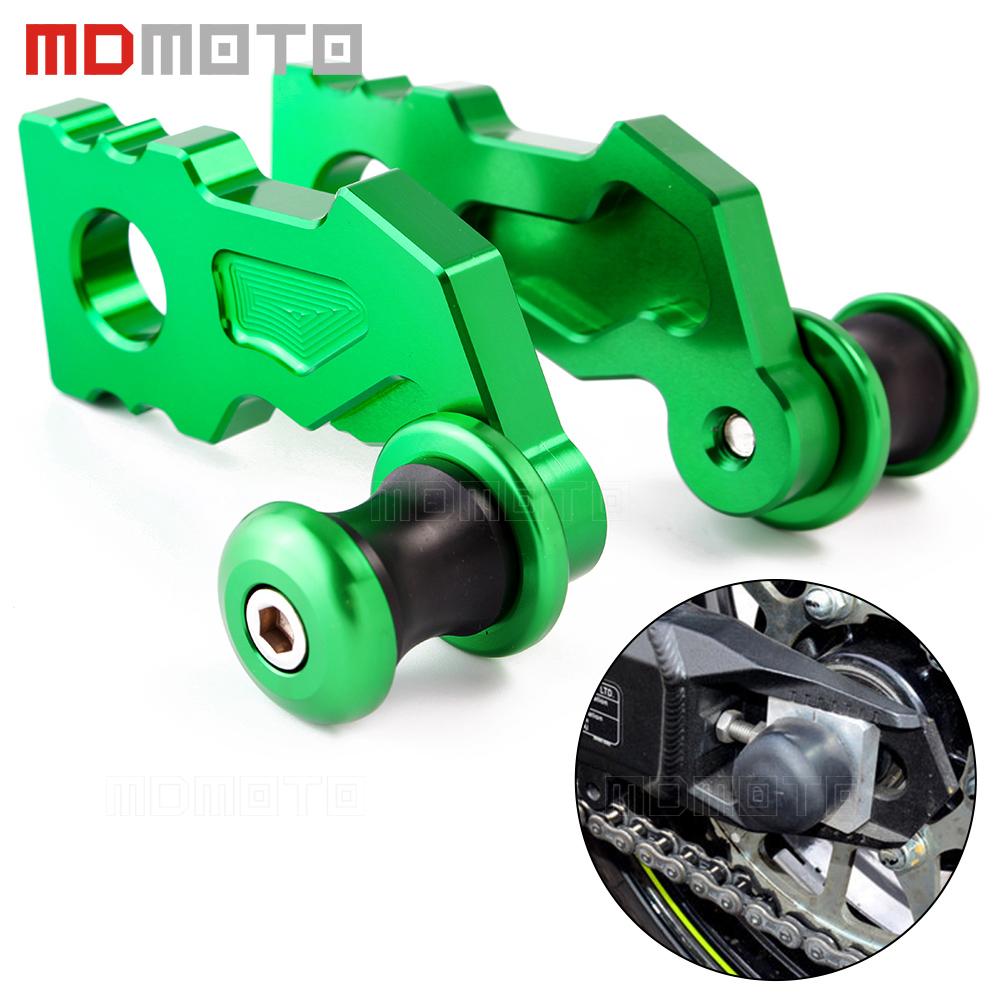 For Kawasaki Z900 2017 CNC Motorcycle Rear Axle Spindle Chain Adjuster Blocks with Spool Sliders Guard Protector CNC Aluminum