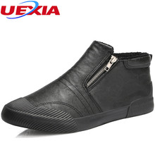 UEXIA Winter Shoes Men Zipper Plush Snow Fashion Casual Shoes Front Anti-collision toe Ankle Fur Warm Footwear Sneakers Slip-On