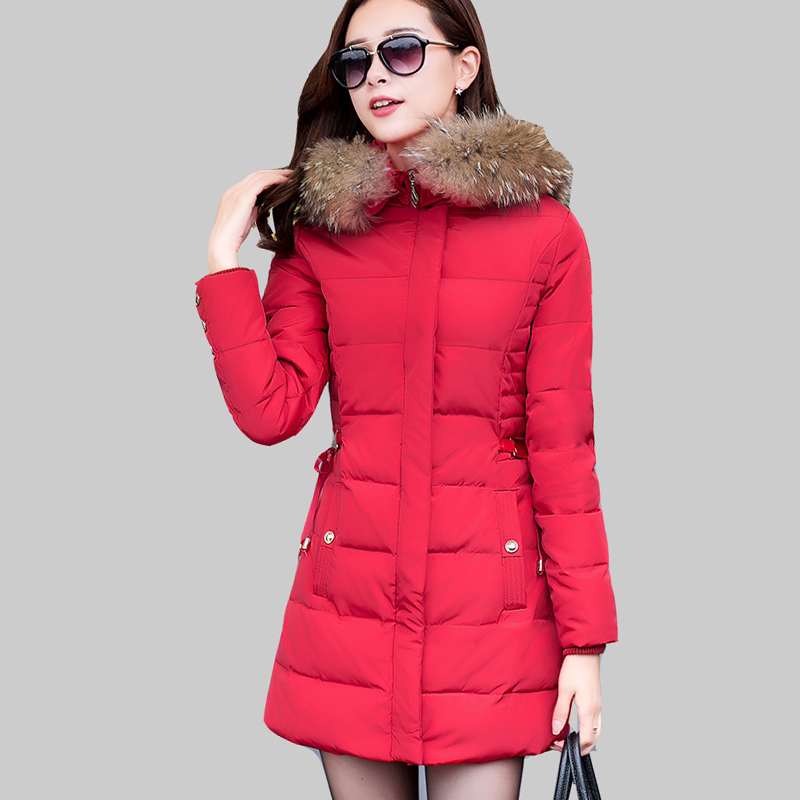 ФОТО Korean Winter Coat Women Long Slim Sequined Jacket Thick Cotton Padded Jackets Hooded with Fur Collar Fashion Warm Parka ZA294
