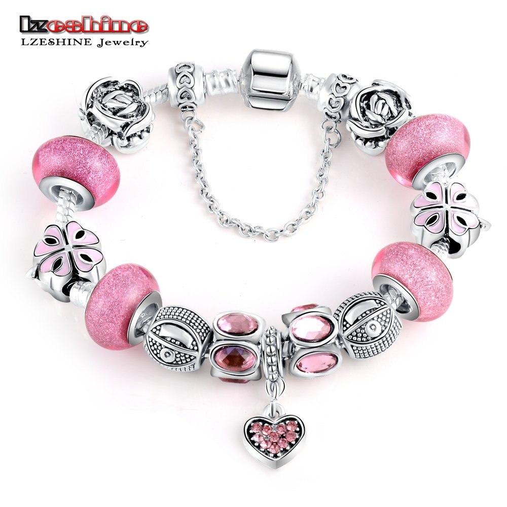Lzeshinesilver Charm Bracelet With Heart Pendant & Flower Charm Pink Murano  Glass Beads Friendship Bracelet Jewelry