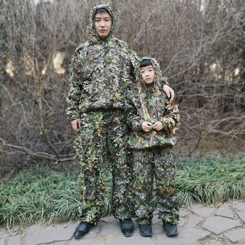 Men Women Kids Outdoor Ghillie Suit Camouflage Clothes Jungle Suit CS Training Leaves Clothing Hunting Suit Pants Hooded Jacket 2