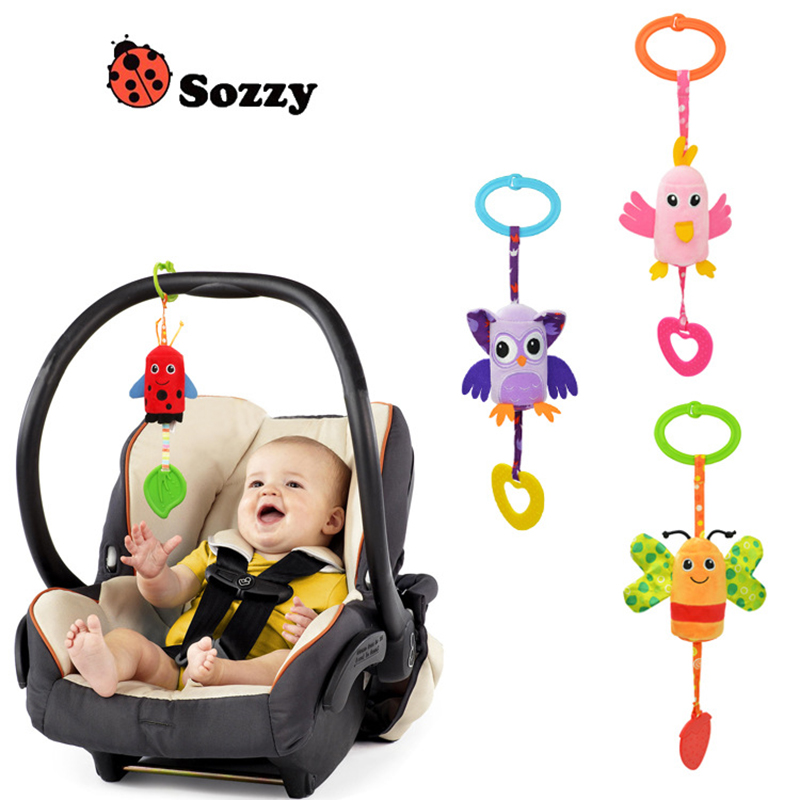 Baby Ratlle Baby Mobile Bed Hanging Wind Chimes Ringing Baby Hand Bell Toy Plush Dolls Toy Sozzy Animal Style