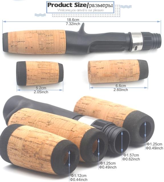MNFT 1Set Cork Split Grip Rod Handle Kit Baitcast Fishing Rod Building and Repair Tackle with Plastic Reel Seat Rear Grip