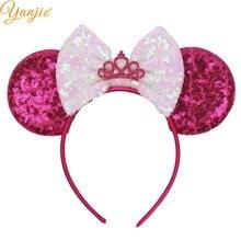 """3,"""" уши Минни-Маус повязка на голову большой бантик с блестками Снежная резинка для волос, принцессы для женщин девочек женские аксессуары для волос Mujer повязки на голову"""