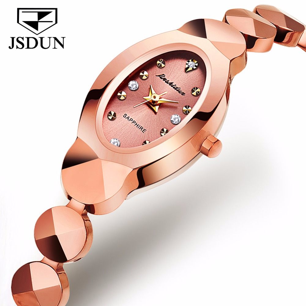 JSDUN Women watch Ladies Tungsten steel bracelet Japanese Quartz movement watch Fashion Dress Rhinestone Clock relogio feminino