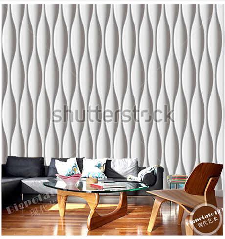 Papel de pared de panel 3D personalizado, diseño moderno ondulado blanco utilizado en la sala de estar, dormitorio, pared de TV, papel de pared de vinilo
