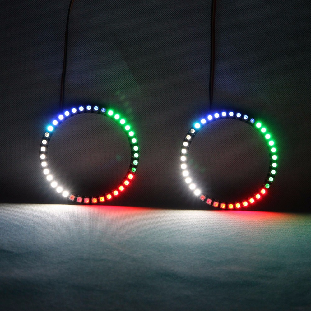RGBW Angel Eyes Revolving Lights DRL LED Rolling Light Multi Color Wireless Control RF 2PCS 80mm