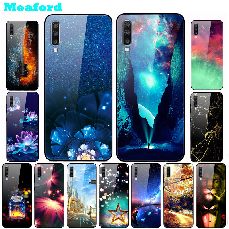 Tempered Glass Case For <font><b>Samsung</b></font> <font><b>A70</b></font> Case Hard PC Colorful Cover for <font><b>Samsung</b></font> Galaxy <font><b>A70</b></font> A705F Phone Cases Bumper A 70 2019 <font><b>hoesje</b></font> image