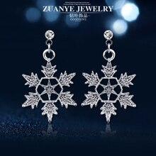 Grace Jun 2017 New Design Bridal Style Snowflake Shape Clip on Earrings No Pierced Fashion Christmas Earrings Fine Jewelry Gift