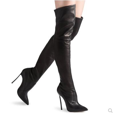 Winter thicken black solid pointed toe high heel thigh boots for women Ladies thin heel over-the-knee long boots Fashion boots 2018 sexy boots over knee high heel autumn winter fashion pointed toe thin heels thigh high long thin leg boots women nysiani