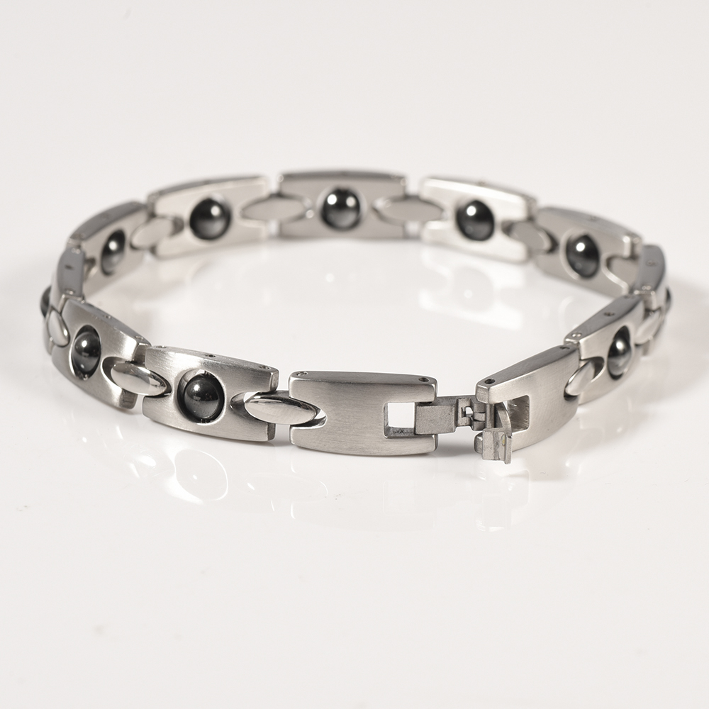 Wollet Jewelry Rolling Hematite Bead Magnetic Stainless Steel Bracelet For Women Silver Color Health Care Healing Energy in Chain Link Bracelets from Jewelry Accessories