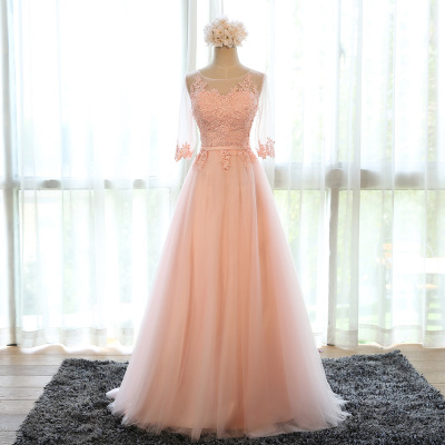 Long evening dress 2016 annual meeting of new spring pink party dress bridesmaid dresses sisters engagement dress 2016 the new bridesmaid dresses bridesmaid dresses long grey spring evening dress female sisters dress party conference