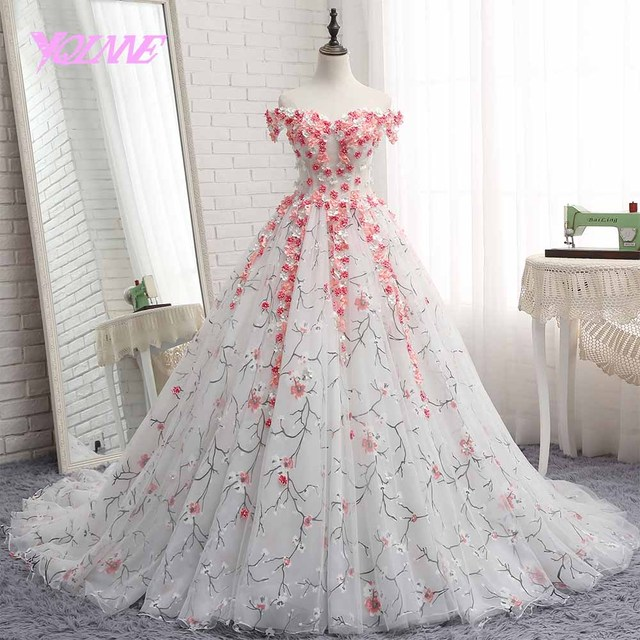 ed3103d8e3 US $419.0 |YQLNNE Colorful ball gown wedding dress 2018 off the shoulder  printing flowers lace up robe de mariee-in Wedding Dresses from Weddings &  ...
