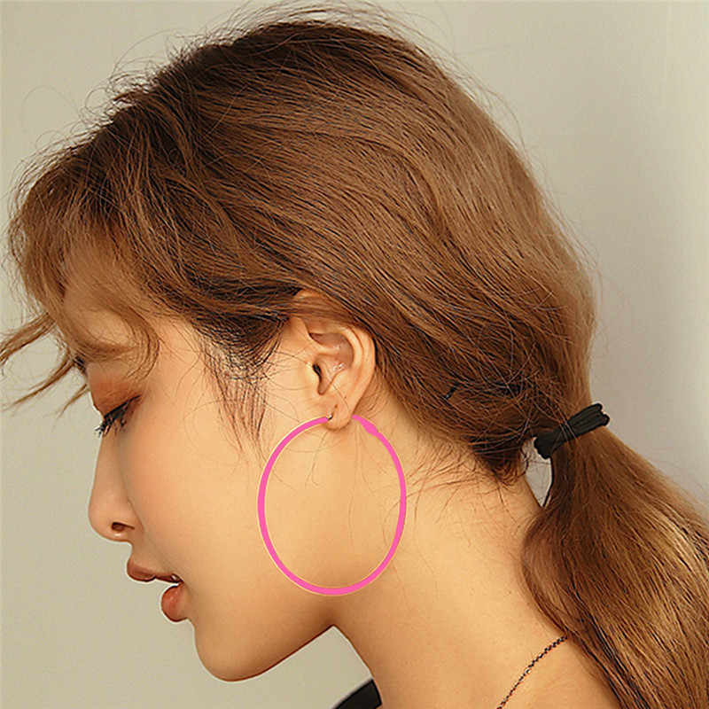 AY Fashion Candy Color Sexy Big Circle Hoop Earrings For Women Green Yellow Blue Diameter 6.9 cm Earring Wedding Party Jewelry
