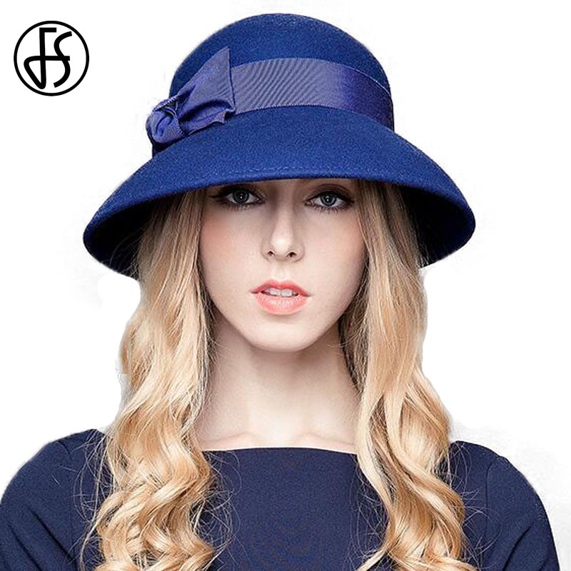 FS Vintage Ladies Wide Large Brim Fedora Hat For Woman Black Wool Felt  Church Hats Sombreros ... ee81ebb09b4