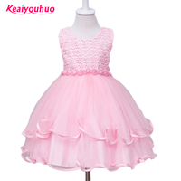 Retail High Quality Kids Christmas Party Dress Girl Pink Layered With Bow Flower Dress 3 Colors