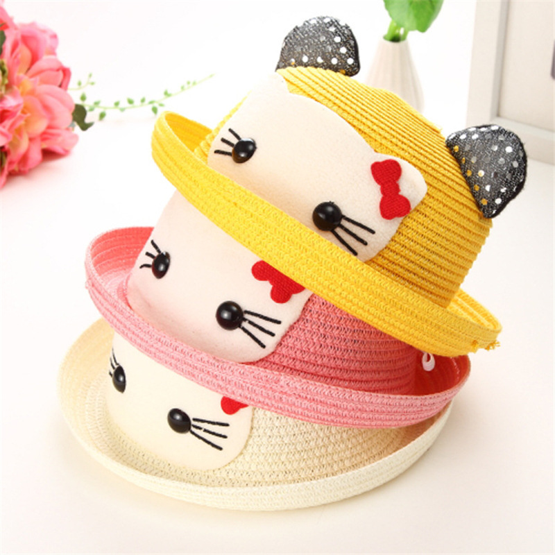 Mingjiebihuo Spring and summer baby hats for children cover sun hats straw hats Korean cartoon cute wave for children caps hats