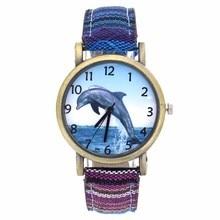 Quartz-Watch Aquarium Cloth-Strap Analog Fashion Casual Women Dolphin Canvas Fish Pattern-Ocean