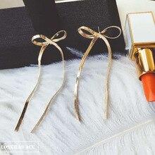 sexy women cute fashion Metal Bow tie tassels dangle earrings long bohemian statement jewelry brinco grande pendientes mujer mo