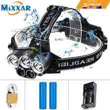 Dropshipping 3T6 White 2XPE Blue LED Headlamp 15000LM led Torch Headlight 5 Mode Head Lamp for Hunting Fishing Outdoor Equipment