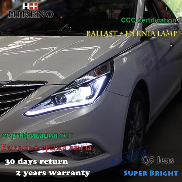 Hireno Headlamp for 2011-2015 Hyundai Sonata Headlight Assembly LED DRL Angel Lens Double Beam HID Xenon 2pcs new headlight headlamp left right for hyundai sonata 8 head led light bar drl 2011 2015 h7 bi xenon