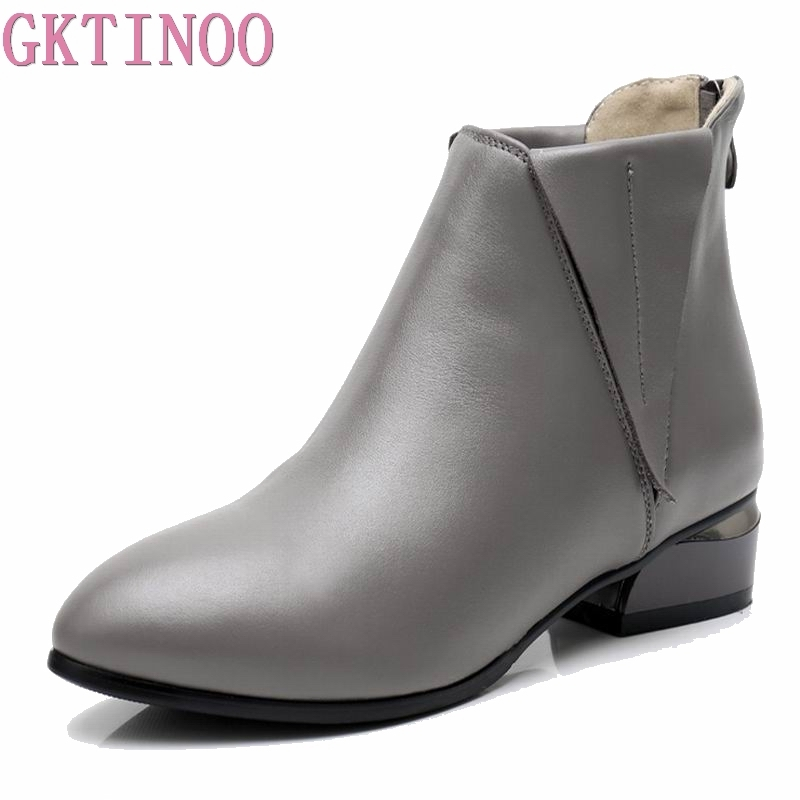 GKTINOO Fashion Autumn Winter Genuine Leather Women Ankle Boots Pointed Toe Zipper Thick High Heels Martin Boots Ladies Shoes liren autumn winter snow boots square high heels shoes casual martin boots women fashion zipper genuine leather ankle boots