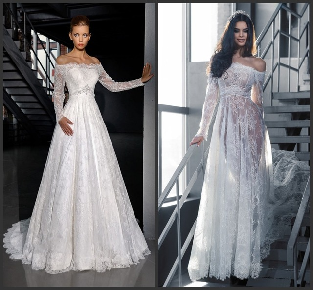 Two Piece Wedding Dresses White Bateau Neck Full Lace Sleeves Empire