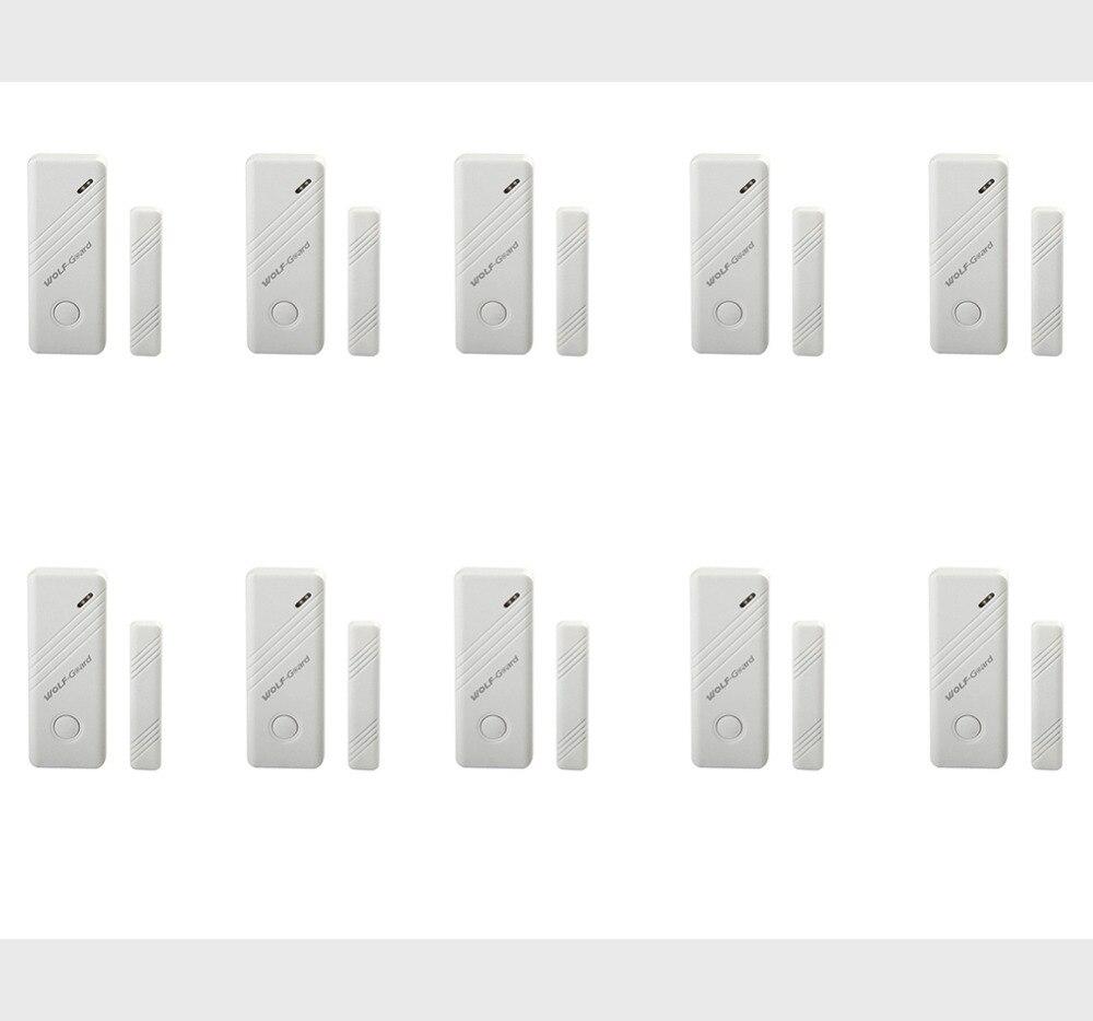 10 pièces loup-garde sans fil porte fenêtre alarme capteur détecteur pour la sécurité de la maison système d'alarme 433 MHz blanc MC-03B