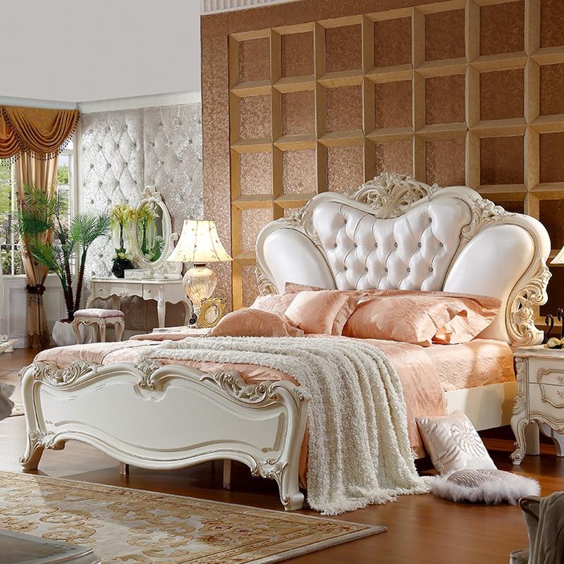 US $648.0  2017 pelle bianca classica letto king size 180X200 cm-in Set per  camera da letto da Mobili su Aliexpress.com   Gruppo Alibaba