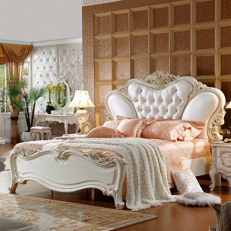 2017 White Leather Classical King Bed 180X200cm -in