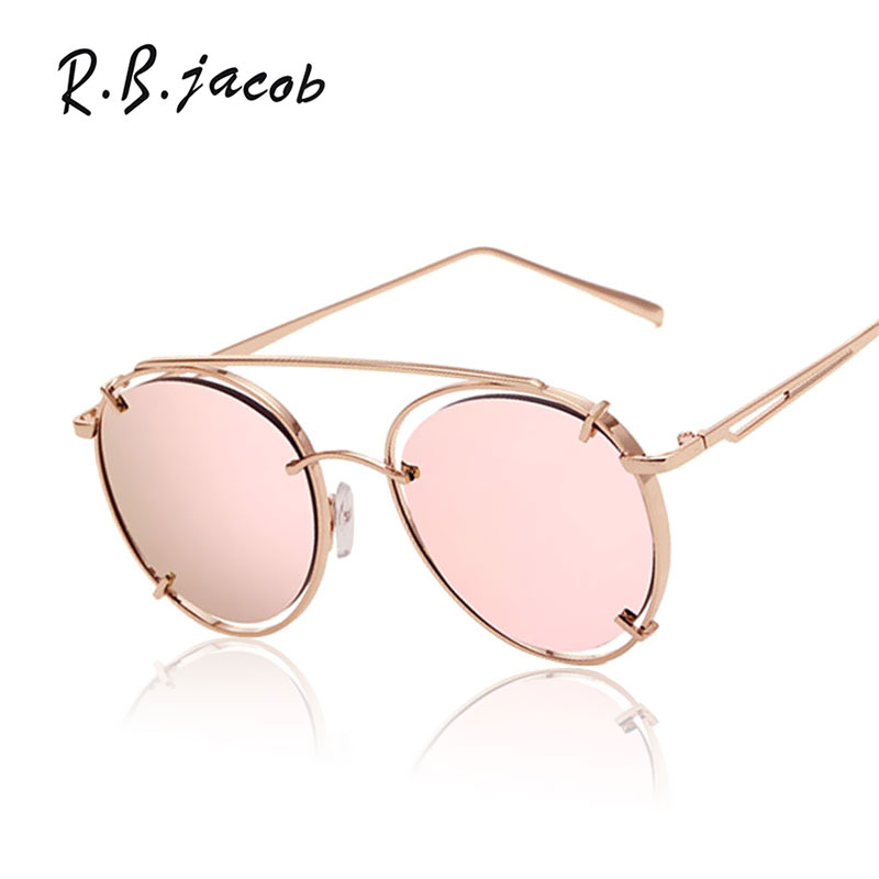 Fashion Hip Hop Sunglasses Mirror Women Men Brand Designer Lady Female Sun glasses UV400 2017 Round New Rose Gold Vintage Hot