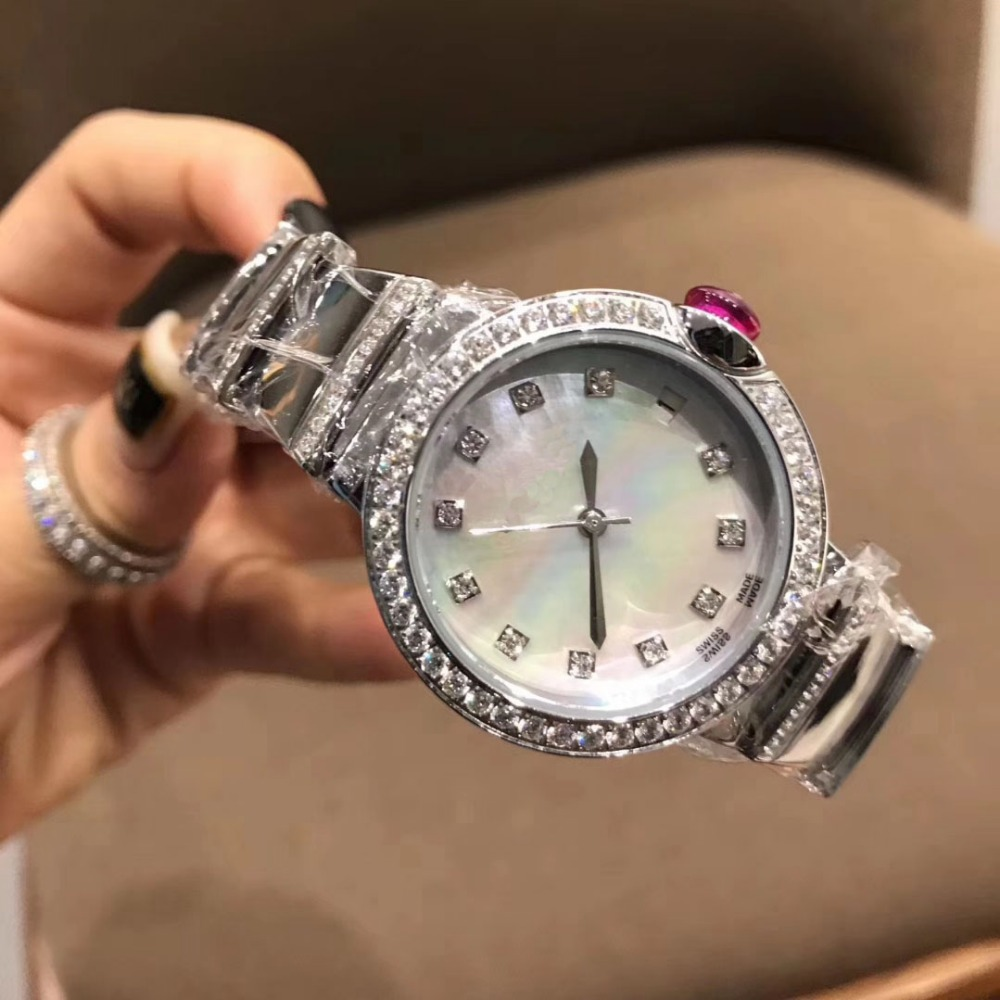 316L edelstahl 33mm runde weiß mutter der perle Zifferblatt CZdimonds dame Quarz Armbanduhr designer uhr für frauen-in Damenuhren aus Uhren bei  Gruppe 1