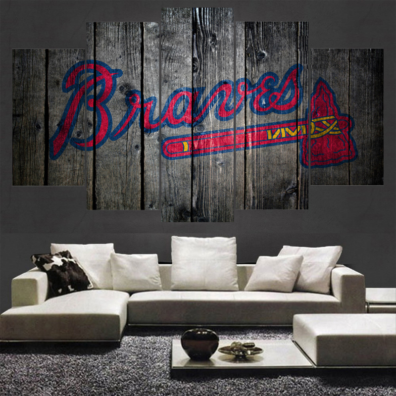 Home Decor Atlanta Braves Canvas Painting Calligraphy 5 Panel ...
