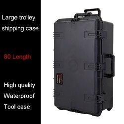 Caja de herramientas a prueba de agua caja de envío del carro 802*521*301mm caja de depósito impacto caja de herramientas de plástico Equipo de la caja de la cámara con caja de espuma