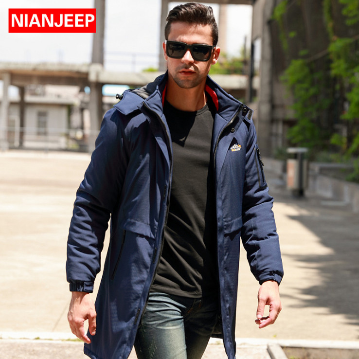 NIANJEEP Autumn Winter Thicken Cotton padded jackets Men Parkas England Style X-Long Windproof Coats Big Size 5XL