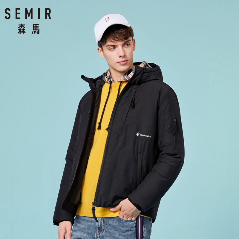 SEMIR Parka Men 2019 Thick Vevlet Warm Men Winter Jacket Down-padded Male Hooded Coats Man Windproof Outerwear