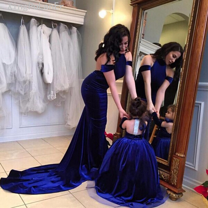 Mother Daughter Dress Backless Ball Gown Velvet Flower Girls Dress 2019 Off The Shoulder Halter Royal Blue Long Vestidos