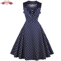 Polka Dot Print Bodycon Swing Vintage Dress Elegant Women Summer Rockabilly Dress Tunic Party Dresses Z3D59